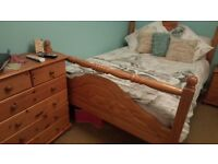 SOLID PINE BEDROOM SET. DOUBLE BED. CHEST OF DRAWERS. BEDSIDE CABINET