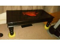 Erotically decorated, epoxy resin, solid oak coffee table 45x60x120cm