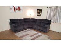 Ex-display Cupola dark grey Suede Fabric electric recliner corner sofa