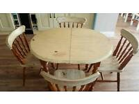 Shabby Chic Solid wood extending table and chairs