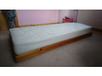Truckle (trundle) single bed with mattress
