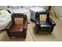 PRE SUMMER Sale Faux Leather Downtown Armchair, club Chair for Dining Living Room & Cafe £110