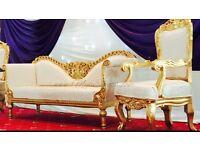 Wedding Reception Stage Decoration Hire £299 Chair Cover Hire 79p Reception Table Decoration Rent £4