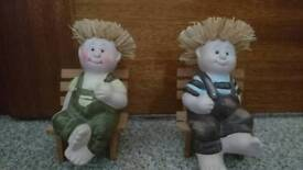 2 Boys Sitting On Chairs Ornaments
