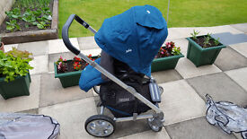Joie Chrome Silver Chassis Pushchair, Car Seat and Carrycot Teal