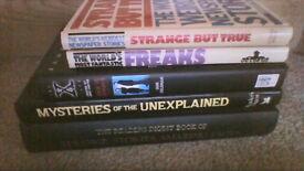 5 hardback books on the unexplained and similar