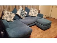 3 seater sofa with chaise longue and footstool