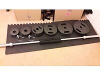 Olympic Barbell Weight Set with bar, collars and pad- 145kg total