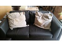 Excellent condition 2 seater sofa - in chocolate brown with footstool