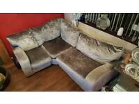 Silver L shaped crushed velvet corner sofa