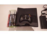 Xbox 360 slim 250GB + original controller + 5 games + Power cables