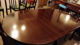 Regency dining table and 8 chairs