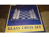 Chess Glass Set Vintage set Clear and Frosted pieces with board
