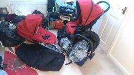 Britax B-Agile Travel system including push chair, car seat , carry cot, foot muff and 3 rain covers