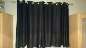 Black curtains and pole