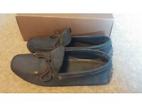 Massimo Dutti Men's Blue Suede Leather Loafers Driving Shoes Boxed Size 8 Nobuck