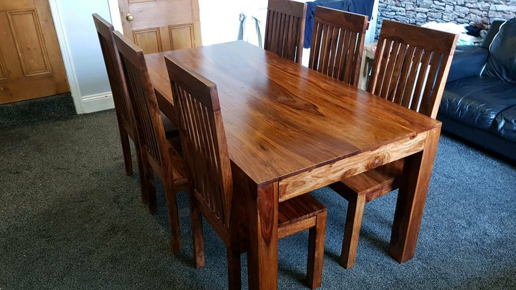Beautiful Indian Sheesham Dining Table And 6 Chairs Halifax