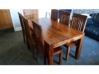 Beautiful Indian Sheesham dining table and 6 chairs