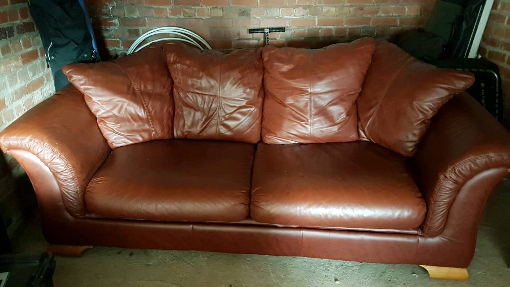 Top quality brown leather sofa and chair