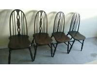 Vintage dark ercol Quaker chairs windsor x 4