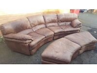 Lovely brown tan leather large curved corner sofa and 2 footstools,or use as a sofa bed,can deliver