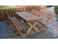 Wood garden table & bench dining set