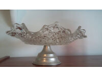 Vintage Glass Pedestal Cake Plate and Stand