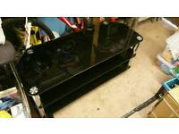 Black glass and chrome XL TV stand