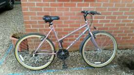 "Ladies mountain bike raleigh monsoon shimano gears, 26"" wheels. Excellent condition."