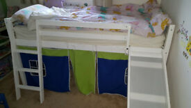 Mid-sleeper white child's single bed with tent and slide