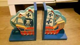 Childrens Wooden Pirate Bookends
