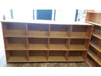 Large wooden double sided shop unit/counter with shelving