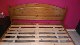 King Size Solid Pine Bed & Mattress - manufactured by Duchers