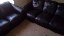 3 + 2 black leather sofa