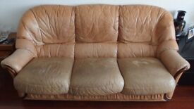 LARGE LEATHER SOFA IN TAN - BY CHATEAU D'AX - VINTAGE MADE IN ITALY COUCH