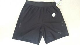 "Puma RUNNING MENS ESSENTIAL RUN 7"" SHORTS - Black - Genuine Original"