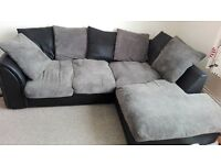Black and grey corner sofa