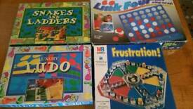 4 Kids' Board Games - Ludo, Snakes and Ladders, Connect 4 and Frustration
