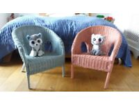 Kids Wicker Chairs (pink & blue)