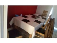 Dining table with chairs and banch