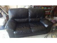 2 seater black leatber sofa