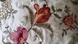 Embroidered floral cushions