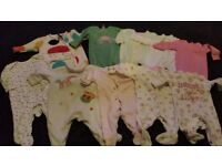 Bundle of 10 baby girl onesies/pyjamas, 0-3 months, NEXT, John Lewis etc