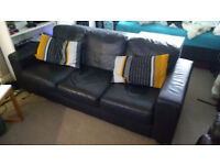 Three seat Leather Sofa, Ikea