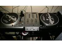 Vestex decks and mixer with vinyl