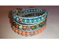 New Handmade wrap gemstone bracelet. Swarovski crystal, fossile stone, peach turquoise on l eather
