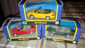Collectable die cast Metal Cars (Porsche Boxster, Jaguar XK, BMW 3 series convertible)