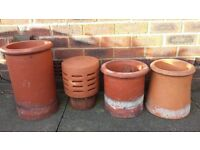 3 x CHIMNEY POTS & 1 x CHIMNEY COWELL
