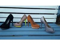 Job lot size 7 shoes high heels glitter new look exc cond