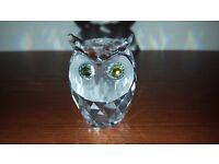 Swarovski Large Crystal Owl with Beautiful Green/Yellow Eyes